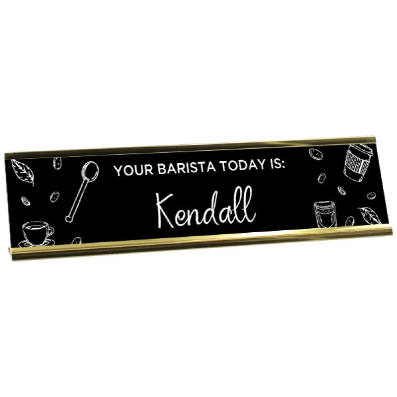 Custom Barista Chalkboard Desk Plate