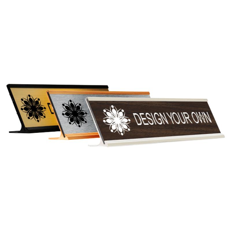 "Engraved Desk Name Plate w/ Alum Holder | 2"" x 8"""