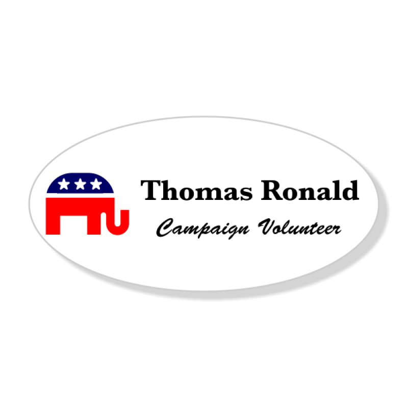 Full Color Republican Oval Political Name Tag
