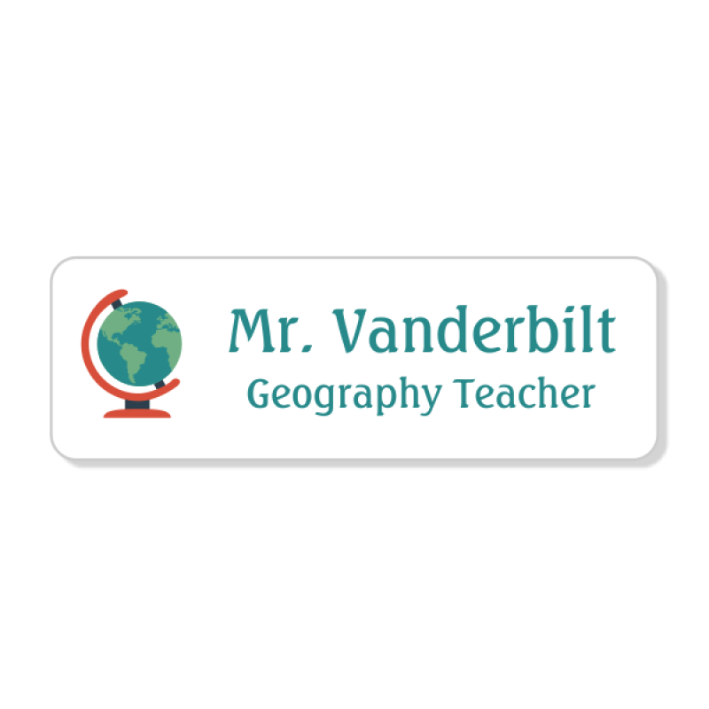 Geography Rectangle 2 Line Name Badge