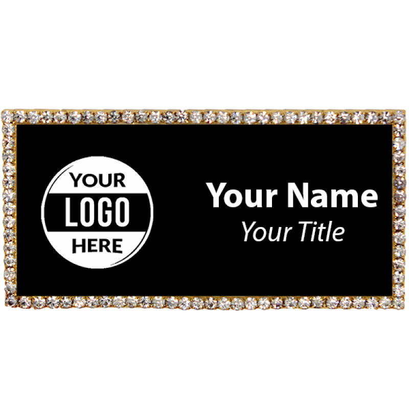 Gold and Black Bling Name Tag