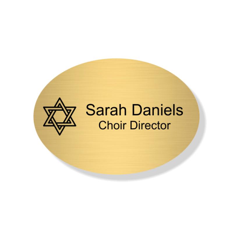 Jewish Faith Engraved Name Tag - Oval