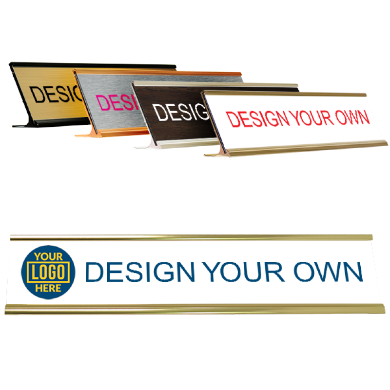 Left Logo Full Color 2 by 10 inch Desk Plate /Holder