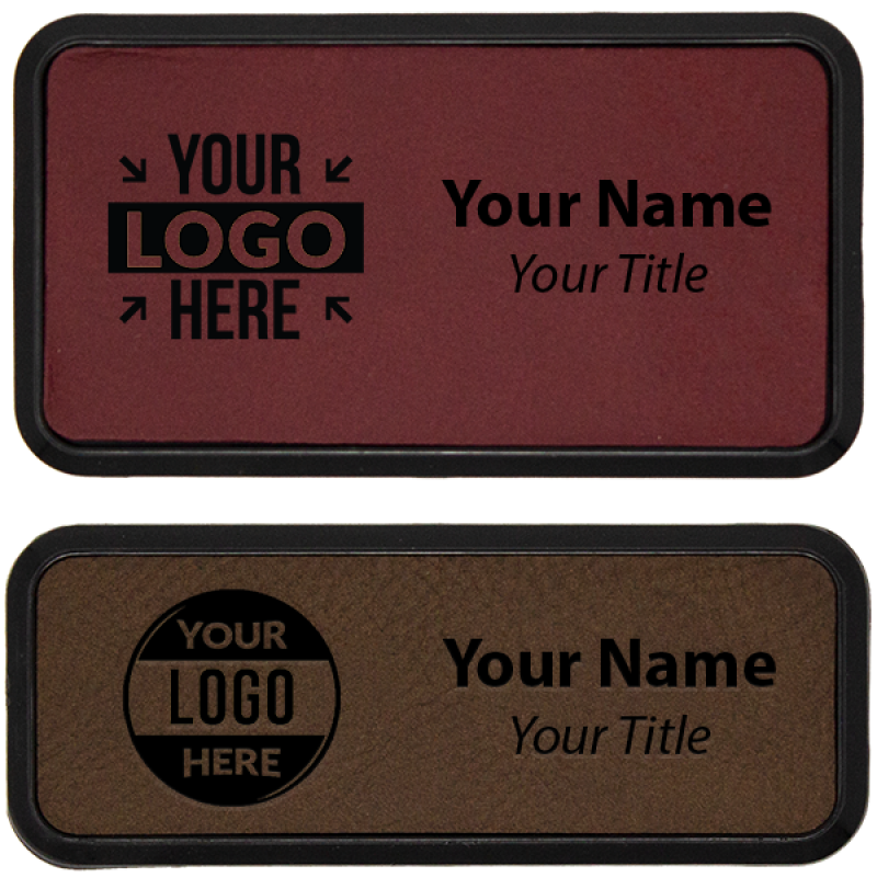 Leatherette Name Tag with Frame - Rectangle