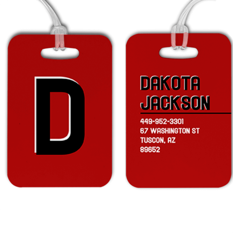 Red Black and White Shadowed Text Monogram Luggage Tag