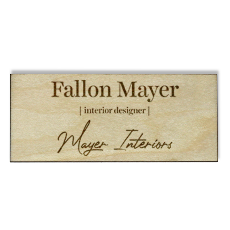 Wood Engraved Designer Name Tag