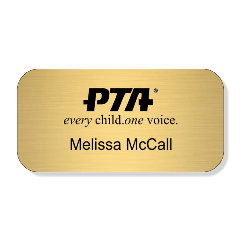PTA Large Engraved 2 Line Name Badge