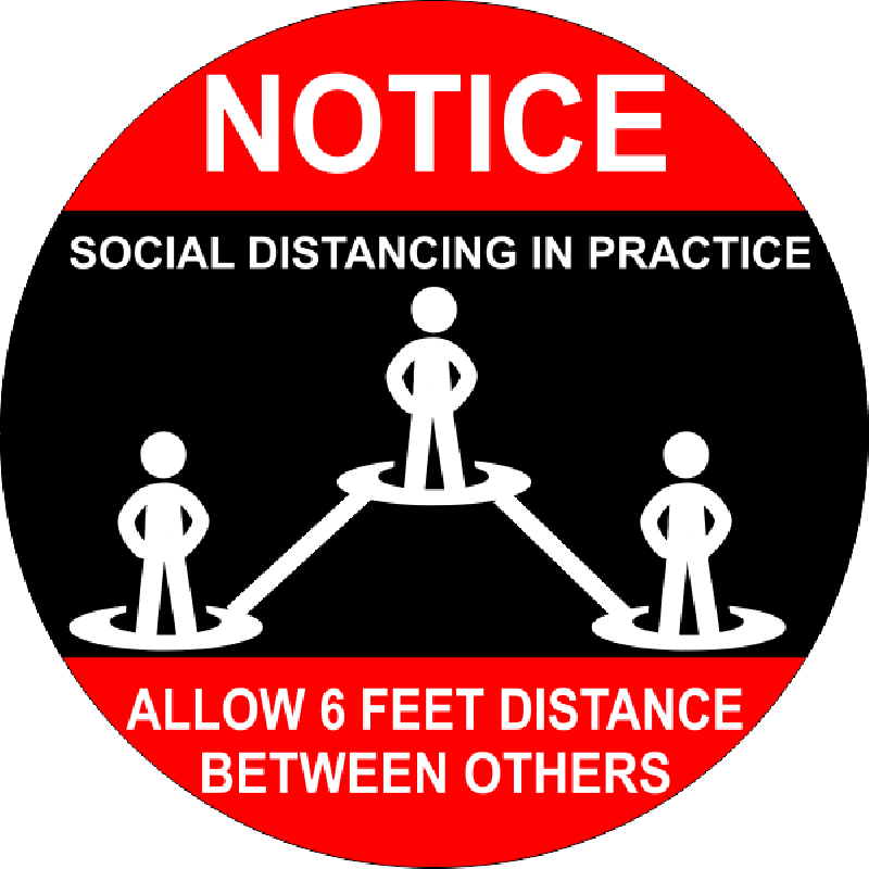 Round Notice Social Distancing Floor Decal