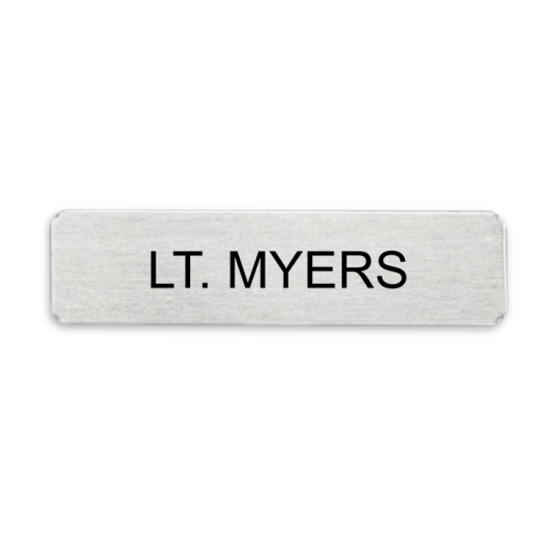 Silver Military Style Name Tag - One Line