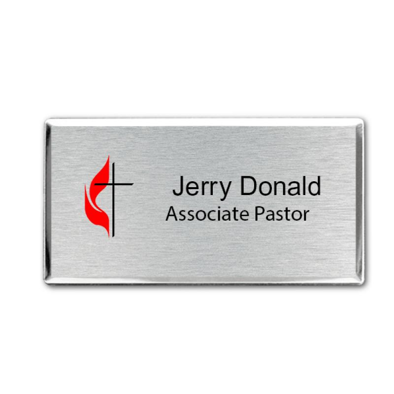 United Methodist Full Color Executive Name Tag - Large Rectangle