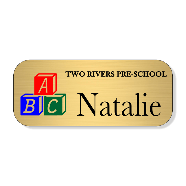 Day Care ABC Full Color School Name Tag