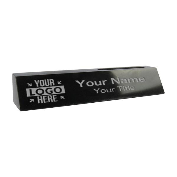 "Engraved Black Marble Desk Name Plate w/ Biz Card | 2"" x 10"""