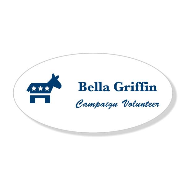 Engraved Oval Democrat Political Name Tag