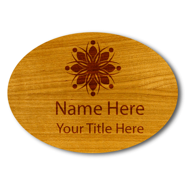 """Engraved Oval Wood Name Tag 