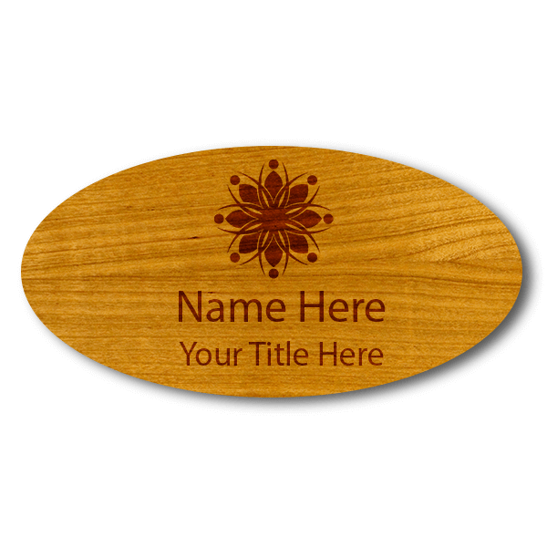 """Engraved Oval Wood Name Tag   1 ½"""" x 3"""""""