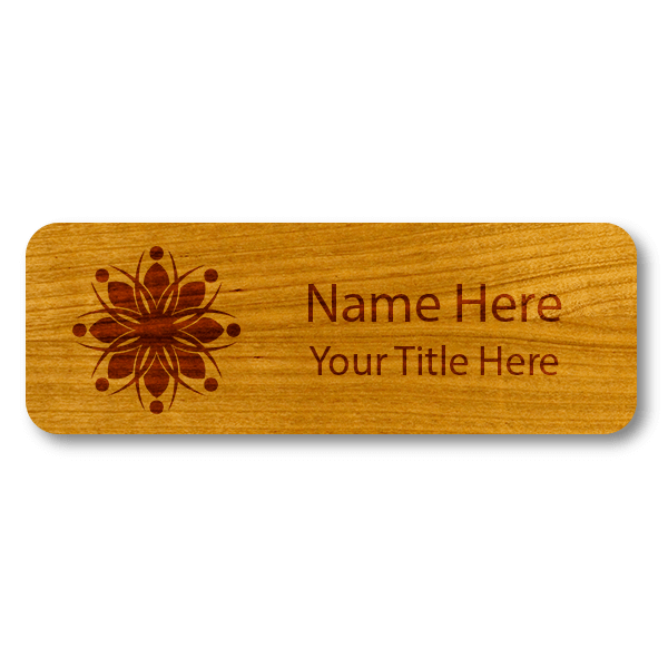 """Engraved Wood Name Tag   1"""" x 3"""""""