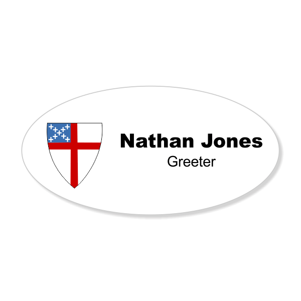 Episcopal Full Color Name Tag - Oval