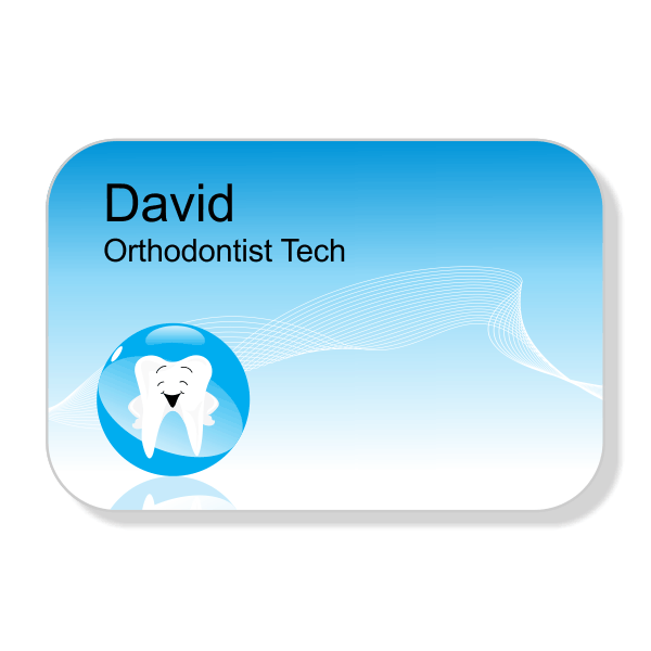Happy Tooth Blue Orthodontist Dentist Name Tag