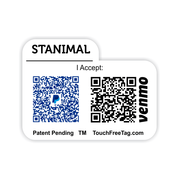 TouchFreeTag Dual QR Code Tab Style Name Tag with Accept