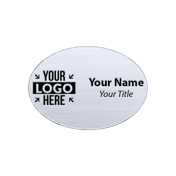 """Laser Engraved Oval White Name Tag - 1.75"""" x 2.5"""""""