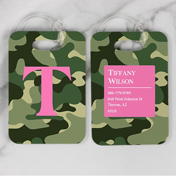 Camouflage Pattern Monogram Luggage Tag