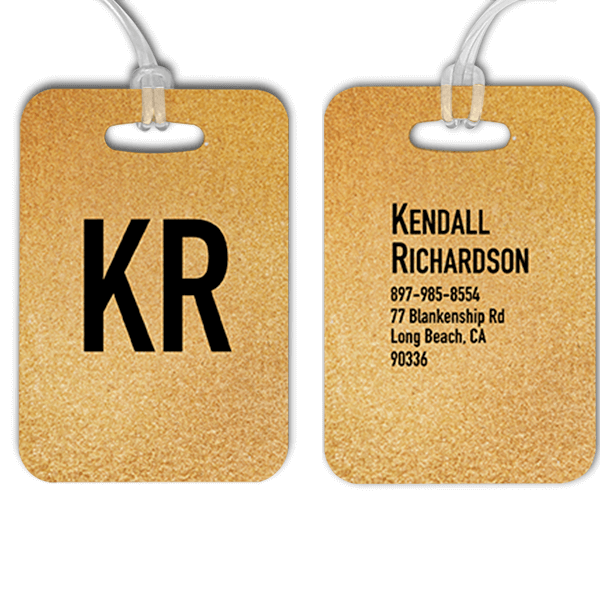 Gold Texture Monogram Luggage Tag
