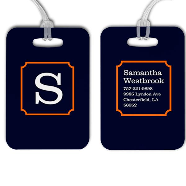 Navy with Orange Frame Monogram Luggage Tag