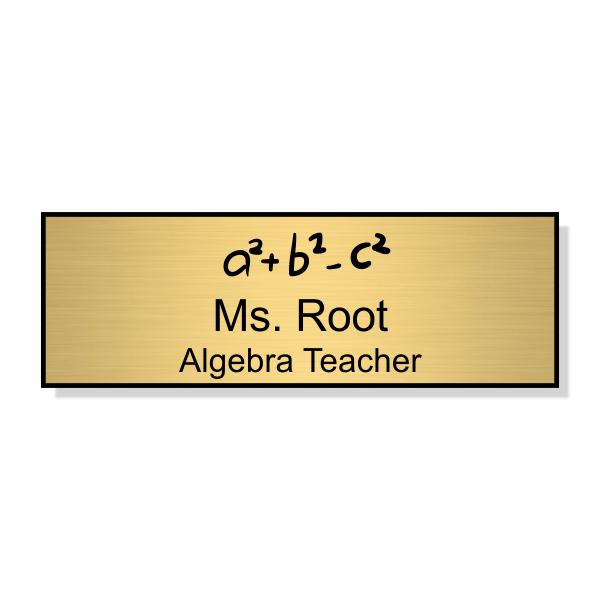 Math Teacher Engraved School Name Tag