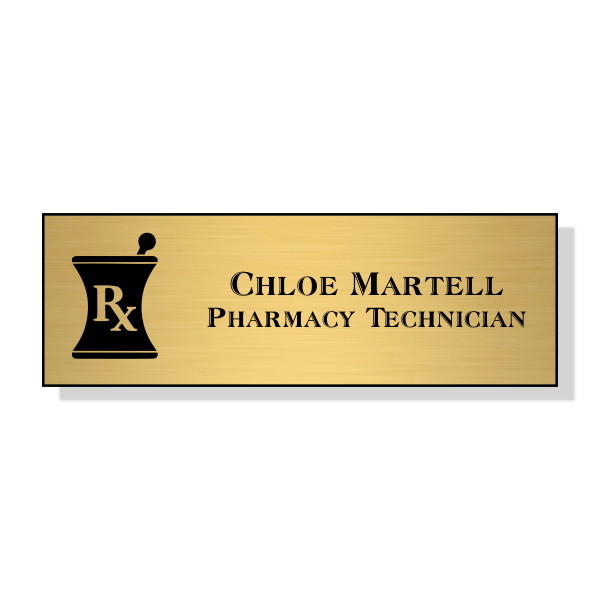 Mortar and Pestle RX Pharmacy Name Tag