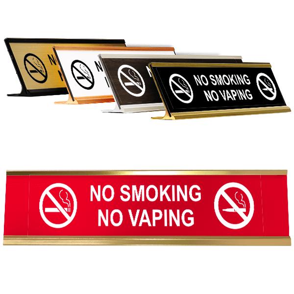 "No Smoking No Vaping Desk Plate | 2"" x 8"""