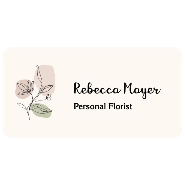 Minimal Floral Name Tag