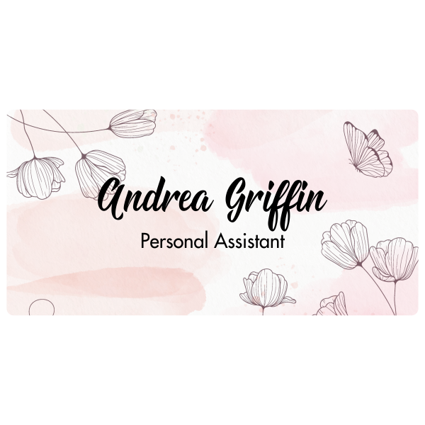 Vintage Script Name Tag with Floral Background