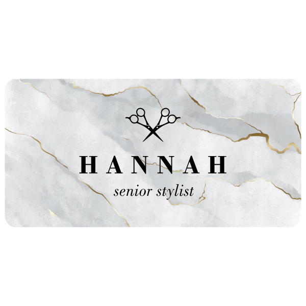 Marble Texture with Icon Stylist Name Tag