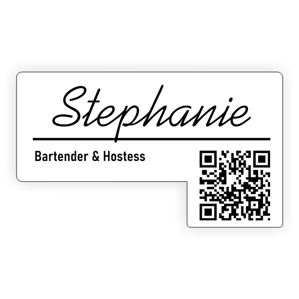 Custom Drop Tab QR Code Name Badge with Logo