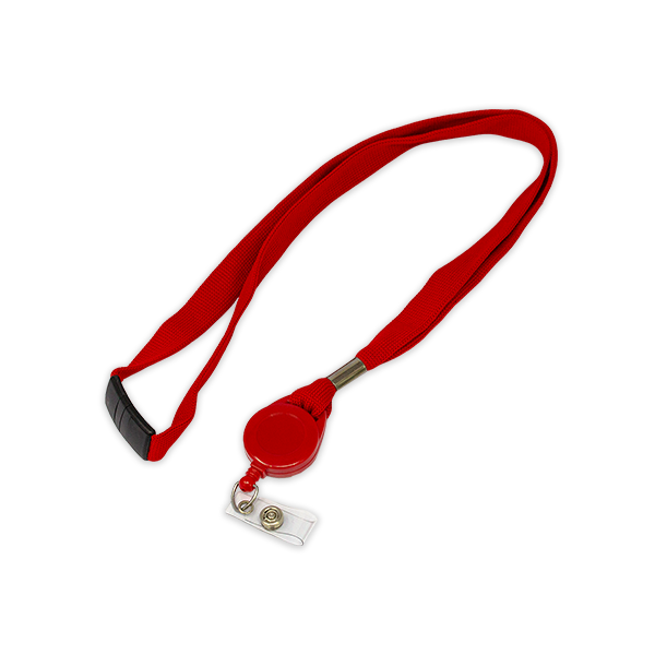 Red Lanyard with Badge Reel