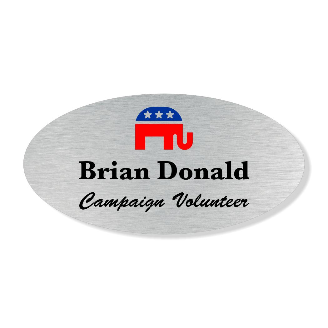Oval Color Elephant Political Name Tag