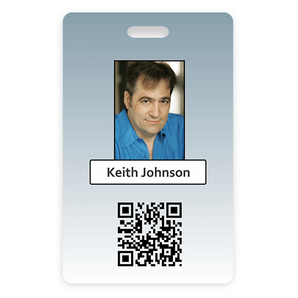 Blue Gradient Vertical Photo ID With QR Code