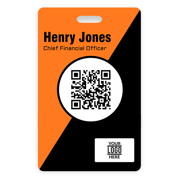 Orange and Black Vertical Photo ID With QR Code