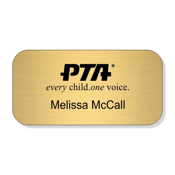 PTA Logo Top Large Engraved Name Tag