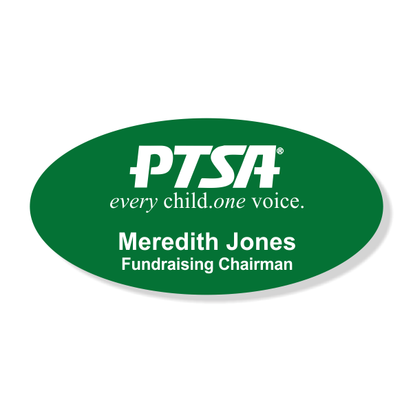 PTSA Large Oval Engraved Name Tag