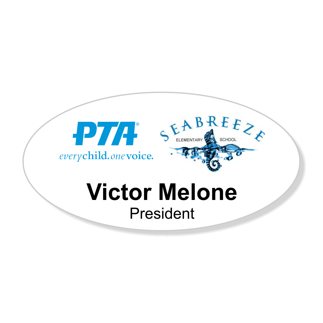 PTA With School Logo Large Full Color Oval Name Tag