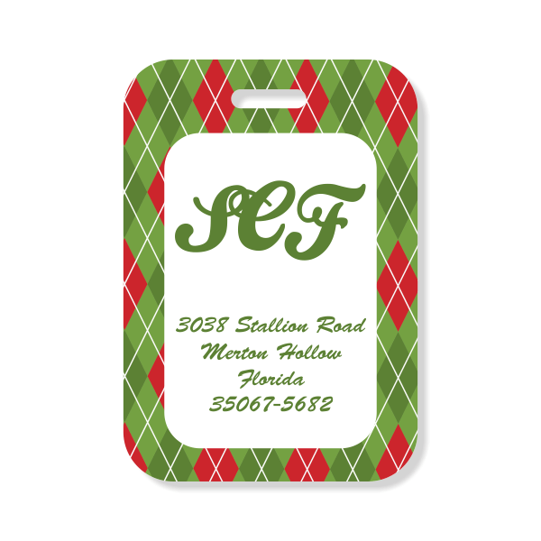 Red and Green Argyle Luggage Tag