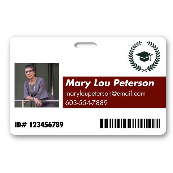 Custom Name Color & School Logo Horizontal Photo ID with Barcode