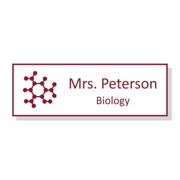 Science Teacher Engraved School Name Tag