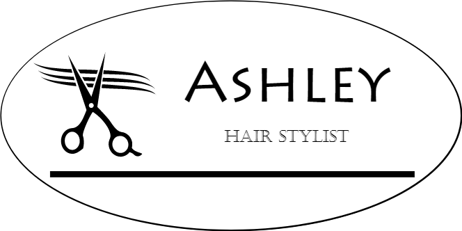 Scissors 2 Line Oval Hair Salon Name Tag