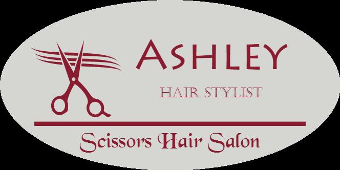 Scissors 3 Line Oval Hair Salon Name Tag