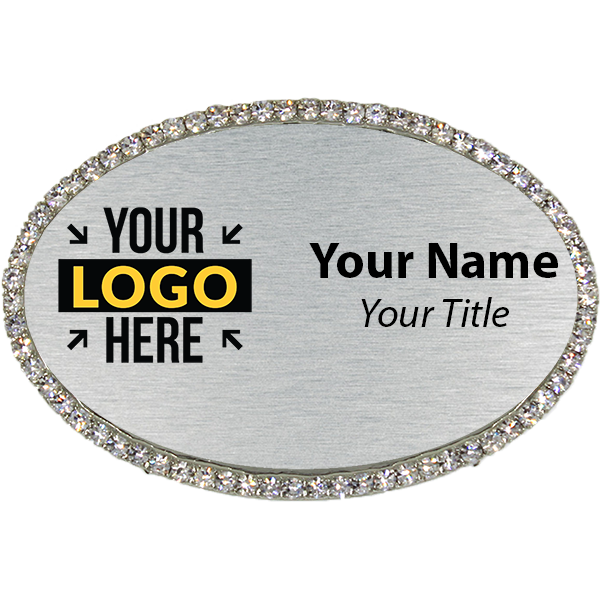 Silver Bling Oval Name Tag