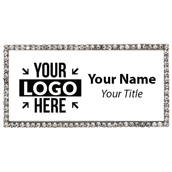 Silver and White Bling Name Tag