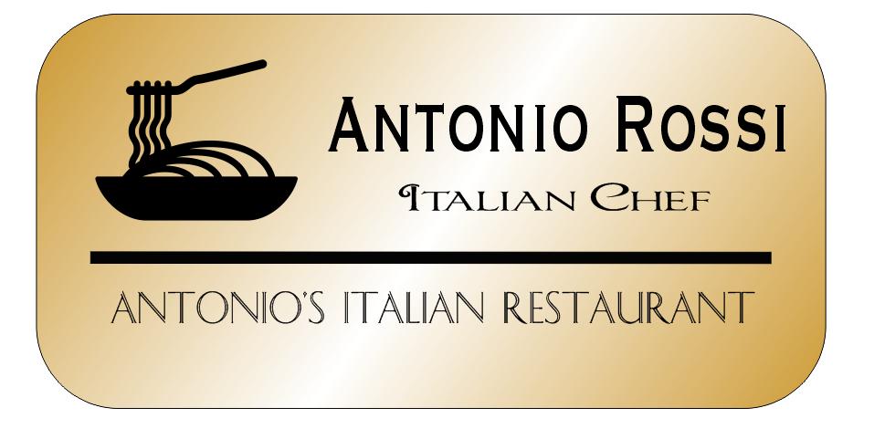 3 Line Italian Restaurant Rectangle Name Badge A