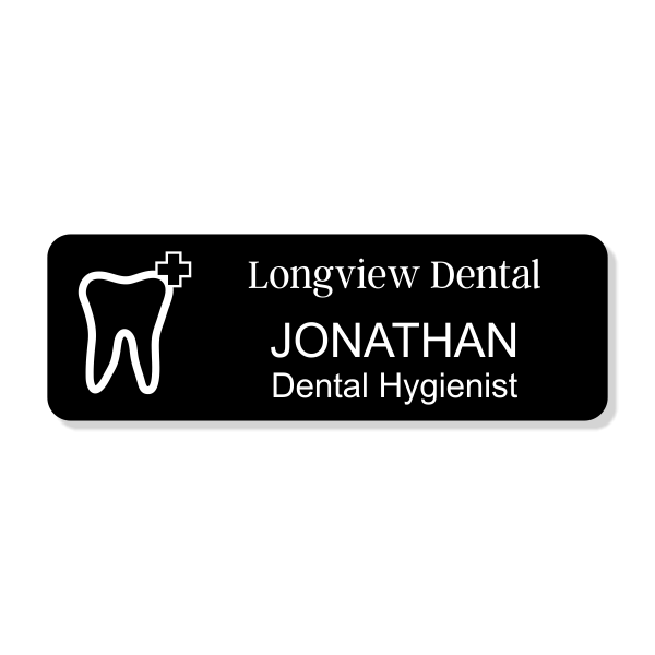 Tooth Engraved Dentist Name Tag